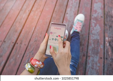 BANGKOK-THAILAND-FEBRUARY-7-2018:Woman hand using Samsung note 8 with Instagram application menu on smartphone screen,Instagram is a popular social media application for sharing images and video
