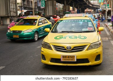 Bangkok,Thailand,January 12 2018,Grab taxi on street,workday morning
