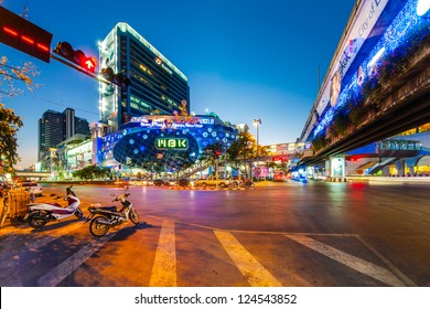 BANGKOK,THAILAND-JANUARY 12: One of the most busiest shopping district in Bangkok. Tourists can comfortably access by using Skytrain, famous mass transit on January 12, 2013 in Bangkok, Thailand.