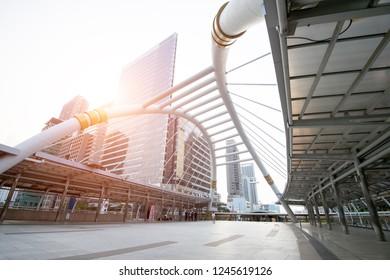 Bangkok,Thailand-January 1,2018: Chong Nonsi skywalk bridge at bkk sky train station on Silom line,skyscraper buildings in Bangkok city.