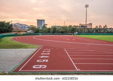 Bangkok,Thailand-January 13,2017 : View of Huamark running track and field stadium on sunset in Bangkok Thailand.