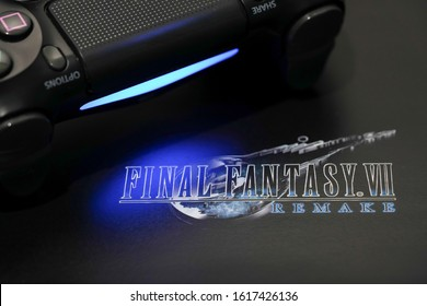 BANGKOK,THAILAND-JANUARY 16: View of Final Fantasy 7 Remake Logo with PS4 Joystick on January 16,2020.