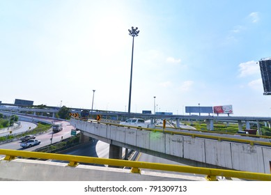 BANGKOK,THAILAND-January 8,2018:Flyover across the motorway. The pickup and the truck through out.