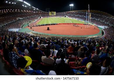 BANGKOK,THAILAND-JU LY 17:Panoramic View of Rajamangala Stadium during a Chelsea FC training session at Rajamangala Stadium on July 17, 2013 in Bangkok, Thailand.