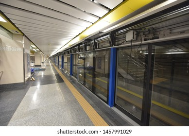 Bangkok,Thailand-JULY 10 2019 :  MRT Blue Line's Hua Lamphong – Bangkae extension,engineering test the stability of the signalling and train control systems for safety and prepared underground train.