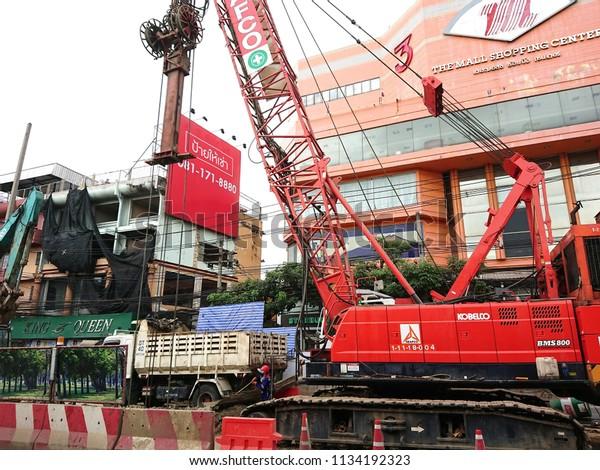 Bangkokthailandjuly 142018 Bts Sky Train Construction Stock