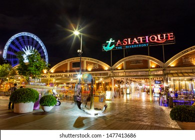 Bangkok,Thailand-July 18, 2019 :  Asiatique The Riverfront is most popular shopping experiences in Bangkok. the first and the largest night-lifestyle venue riverfront in Asia located on the Chao Phray
