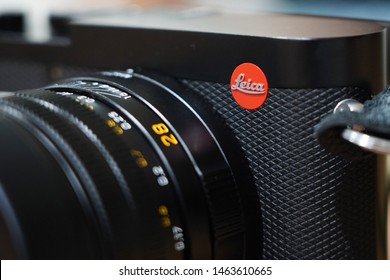 BANGKOK,THAILAND-JULY 28: Close-Up on Leica Logo on The New  Leica Q2 Camera  on July 28,2019