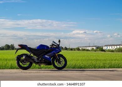 Bangkok,Thailand-July 29,2019 Big Bike Yamaha R15 outdoor park to watch people experience