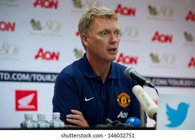 BANGKOK,THAILAND-JULY12: Manager David Moyes of Manchester United speaks during  a press conference at Rajmalanga Stadium as pre-season tour of Bangkok on July12, 2013 in Thailand.