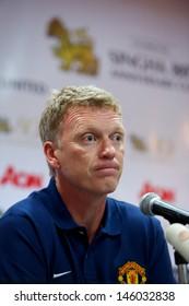 BANGKOK,THAILAND-JULY12: Manager David Moyes of Manchester United speaks during  a press conference at Rajmalanga Stadium as pre-season tour of Bangkok on July12, 2013 in Bangkok,Thailand.