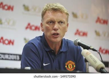 BANGKOK,THAILAND-JULY12: Manager David Moyes of Manchester United speaks during a press conference at Rajmalanga Stadium as pre-season tour of Bangkok on July12, 2013 in BaThailand.