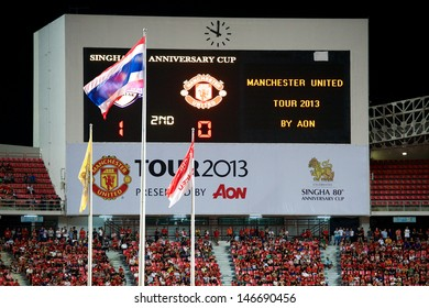 BANGKOK,THAILAND-JULY13:Unidentified View Scoreboard of Rajamangala Stadium during the friendly match between Singha All Star and Manchester United at Rajamangala Stadium on July13, 2013in Thailand.