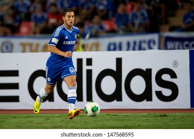 BANGKOK,THAILAND-JULY17:Eden Hazard of Chelsea run with the ball during the international friendly match Chelsea FC and Singha Thailand All-Star at the Rajamangala Stadium on July17,2013 inThailand.