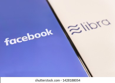 BANGKOK,THAILAND-JUNE 19:Facebook Logo with Libra on Mobilephone Screen  on June 19,2019. Facebook Announced New Global Digital Crypto Currency Called Libra Today.
