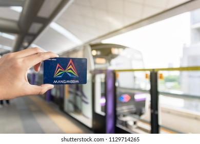 Bangkok,Thailand-June 2018: The Mangmoom Card for rapid transit systems in Bangkok. Now able to be used on the MRT, Airport Link and on buses this card is going to make commuting around Bangkok.