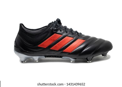 BANGKOK,THAILAND-JUNE 22: Side View of The New Adidas Copa 19.1 FG with Red Stripes on The Kangaroo Leather on June 22,2019