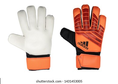 BANGKOK,THAILAND-JUNE 22: Side View of The New Adidas Football Gloves Fingersave Predator Training FG  on June 22,2019