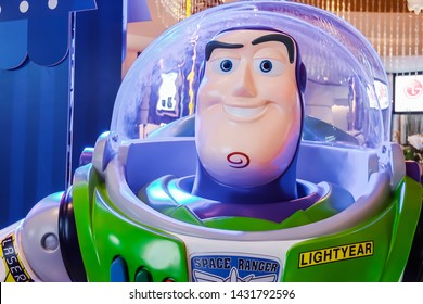 BANGKOK,THAILAND-June 22,2019: Model Buzz Lightyear robot toy character form Toy Story animation film at the cinema. Buzz is a toy space ranger hero and one of the two lead characters in the Toy Story