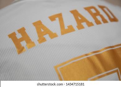 BANGKOK,THAILAND-JUNE 26: Name of Eden Hazard on Real Madrid Jersey on June 26,2019