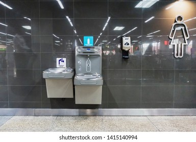 BANGKOK-THAILAND,JUNE 5 2019: Automatic water bottle filling station,Stainless Steel Water filling machine for environmental benefits of avoiding the use plastic water bottle in International Airport