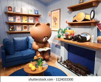 Bangkok,Thailand-June13,2018:LINE Village Bangkok at Siam square one Shopping Center. The Digital Adventure. World's First LINE FRIENDS' Indoor Theme park. : Brown's Room