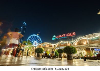 Bangkok,Thailand-MARCH 1, 2017 : Harbor Facade of Asiatique The Riverfront. Asiatique The Riverfront is a large open-air mall in Charoen Krung Road, Bangkok, Thailand ,Motion Blur.