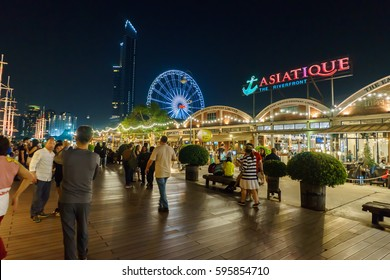 Bangkok,Thailand-MARCH 1, 2017 : Harbor Facade of Asiatique The Riverfront. Asiatique The Riverfront is a large open-air mall in Charoen Krung Road, Bangkok, Thailand.