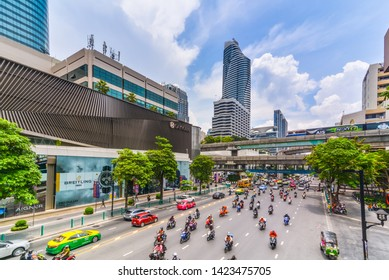 Bangkok,Thailand-March 10,2018:City scape, Traffic & BTS sky walk, central world, Saim station ,Shopping center, office building, condominiums and hotels in business & finance, Ratchaphrasong junction