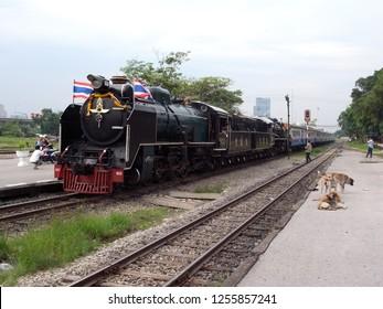 Bangkok,Thailand-March 26, 2011: A special steam train at Bang Sue station in Bangkok