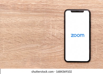BANGKOK,THAILAND-MARCH 27: View of Zoom Video Conference Application on the Phone on March 27, 2020.