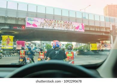 BANGKOK-THAILAND-MAY 16, 2018: The campus BNK48  billboard on Ratchada-Narathiwas intersection Sathorn, Bangkok, Thailand.