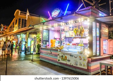 BANGKOK,THAILAND-May 2019-People and Tourist buying ice cream and dessert at Asiatique outdoor street food night market. Market Stalls. Outdoor market.Food Event.Food Fair. Festival.Flea Market.Bazaar