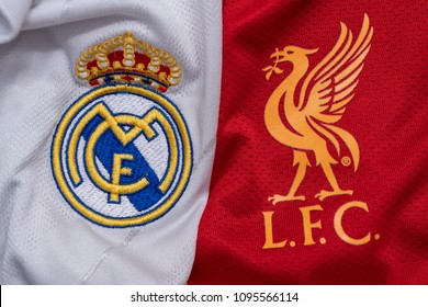 BANGKOK,THAILAND-MAY 22: Logo of Liverpool and Real Madrid on Football Jerseys For UCL Final 2018 on May 22,2018
