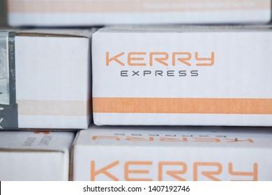 BANGKOK,THAILAND-MAY 25: View of Kerry Express Box on MAy 25,2019
