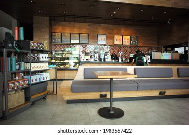 Bangkok,Thailand:May 30,2021-Perspective interior of Starbucks coffee shop without the customers