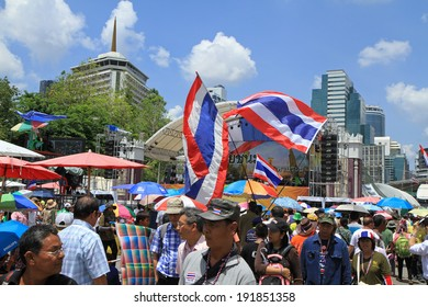 BANGKOK,THAILAND-MAY 9: Unidentified protesters protest and ask to reform before election on May 9,2014 at Lumpini park in Bangkok,Thailand.