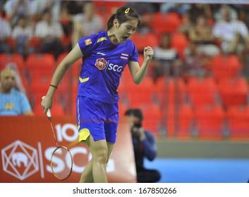 BANGKOK,THAILAND-NOV02,2013:Busanan Ongbumrungpan badminton player of Thailand during SCG BWF World Junior Champions 2013 at Indoor Stadium Huamark on Nov02,2013 in Bangkok,Thailand.