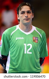 BANGKOK,THAILAND-NOVEMBER 06:Libor Gercak of Czech Republic looks on during the FIFA Futsal World Cup  between Egypt and Czech Republic at Indoor Stadium Huamark on Nov6,2012 in,Thailand.