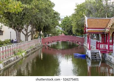 BANGKOK,THAILAND,NOVEMBER 12 2016 : Canal Bridge at Wat Benchamabopit Dusitvanaram in Bangkok,The Marble Temple, Thailand.