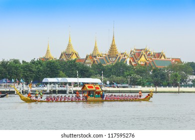 "BANGKOK,THAILAND-NOVEMBER 2: ""Asura Paksi"" ship was set for the dress rehearsal of the Royal Barge Procession for the Royal Kathin Ceremony at Chaopraya river on November 2,2012 in Bangkok,Thailand"