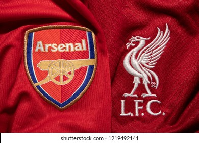 BANGKOK,THAILAND-NOVEMBER 2:  The Logo of  Arsenal and  Liverpool on the  Jerseys on November 2,2018. Both of them will face each other on EPL at this weekend