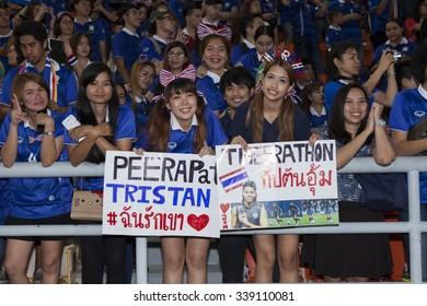 BANGKOK,THAILAND:November 2015:supporters of Thailand in world cup Thailand and Chinese Taipei at Rajamangala Stadium on November,12,2015;Thailand.