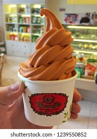 BANGKOK,THAILAND-NOVEMBER 22,2018:Thai tea soft serve ice cream of 'CHA TRA MUE' famous beverage bar and products