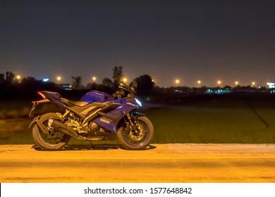 Bangkok,Thailand-November 25,2019 Big Bike Yamaha R15 outdoor park to watch people experience at night