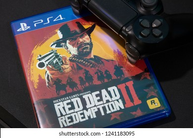 BANGKOK,THAILAND-NOVEMBER 26:  The New Red Dead Redemption 2 game with  ps4 Joystick on ps4 Console on November 24,2018