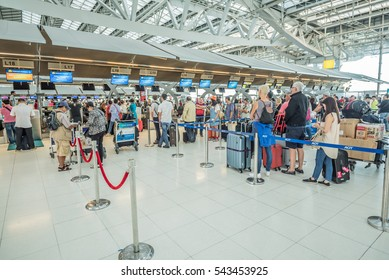 Bangkok,Thailand-November 26,2016: Interior of Suvarnabhumi Airport in Bangkok ,Thailand.This airport is handling about 55 million passengers annually.