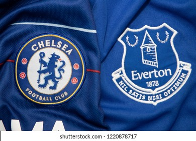 BANGKOK,THAILAND-NOVEMBER 4:  The Logo of  Chelsea and  Everton on the  Jerseys on November4,2018. Both of them will face each other on EPL at this weekend