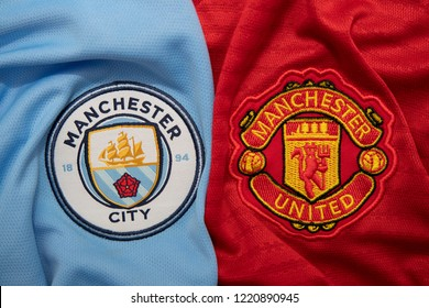 BANGKOK,THAILAND-NOVEMBER 4:  The Logo of  Manchester City and  Manchester United on the  Jerseys on November4,2018. Both of them will face each other on EPL at this weekend