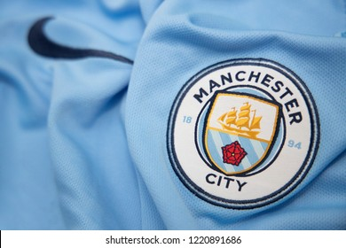 BANGKOK,THAILAND-NOVEMBER 4: The Logo of Manchester City Football Club on the Jersey on November 4,2018.  The club is trying to win the EPL Champion this year